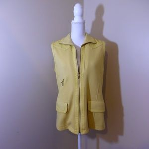 Suzelle Yellow Vest With Leather Detail Size Small